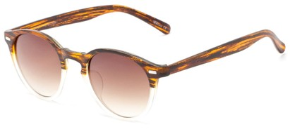 Angle of Hubbard #3921 in Brown/Clear Frost Frame with Amber Lenses, Women's and Men's Round Sunglasses