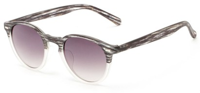 Angle of Hubbard #3921 in Black/Clear Frost Frame with Smoke Lenses, Women's and Men's Round Sunglasses