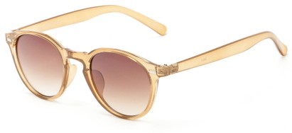 Angle of Hubbard #3921 in Clear Brown Frame with Amber Lenses, Women's and Men's Round Sunglasses