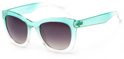 Angle of Hida #3937 in Clear Mint Frame with Smoke Lenses, Women's Cat Eye Sunglasses