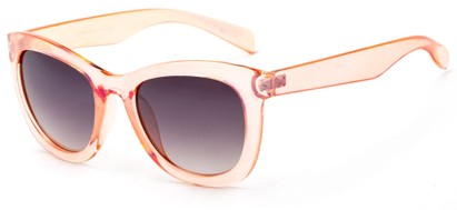 Angle of Hida #3937 in Clear Coral Frame with Smoke Lenses, Women's Cat Eye Sunglasses