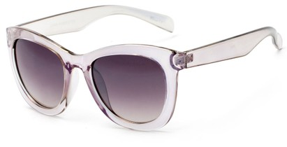 Angle of Hida #3937 in Clear Grey/Purple Frame with Smoke Lenses, Women's Cat Eye Sunglasses