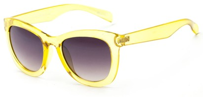 Angle of Hida #3937 in Clear Yellow Frame with Smoke Lenses, Women's Cat Eye Sunglasses