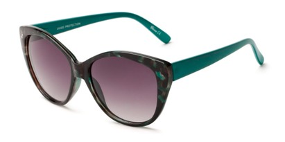 Angle of Hazel #3901 in Brown Tortoise/Green with Smoke Lenses, Women's Cat Eye Sunglasses