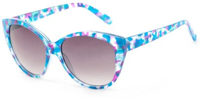 Angle of Shenandoah #3938 in Blue/Pink Watercolor Frame with Smoke Lenses, Women's Cat Eye Sunglasses