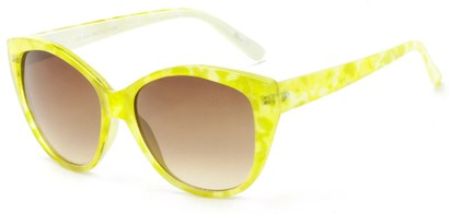 Angle of Shenandoah #3938 in Lime Watercolor Frame with Amber Lenses, Women's Cat Eye Sunglasses