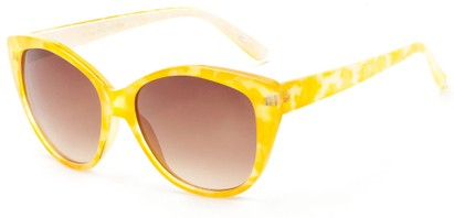Angle of Shenandoah #3938 in Yellow Watercolor Frame with Amber Lenses, Women's Cat Eye Sunglasses