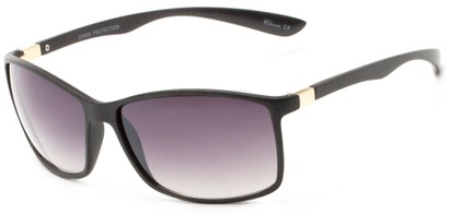 Angle of Bachman #3943 in Black Frame with Smoke Lenses, Women's and Men's Square Sunglasses