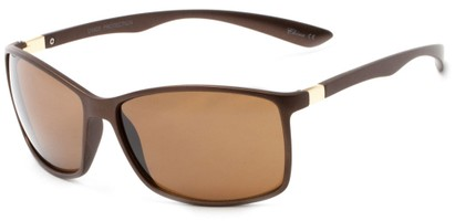 Angle of Bachman #3943 in Copper Frame with Amber Lenses, Women's and Men's Square Sunglasses