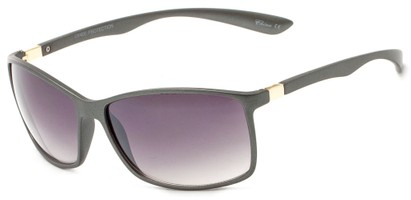 Angle of Bachman #3943 in Grey Frame with Smoke Lenses, Women's and Men's Square Sunglasses