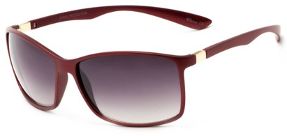 Angle of Bachman #3943 in Red Frame with Smoke Lenses, Women's and Men's Square Sunglasses