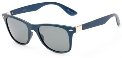 Angle of Gunnison #3944 in Blue Metallic Frame with Grey Lenses, Women's and Men's Retro Square Sunglasses