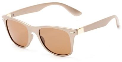 Angle of Gunnison #3944 in Gold Metallic Frame with Amber Lenses, Women's and Men's Retro Square Sunglasses