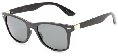 Angle of Gunnison #3944 in Black Metallic Frame with Grey Lenses, Women's and Men's Retro Square Sunglasses