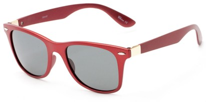 Angle of Gunnison #3944 in Red Metallic Frame with Grey Lenses, Women's and Men's Retro Square Sunglasses