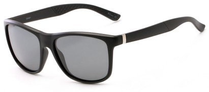 Angle of Revere #3946 in Matte Black Frame with Grey Lenses, Men's Retro Square Sunglasses