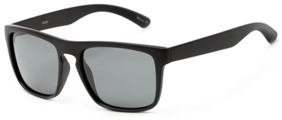 Angle of Granger #3953 in Matte Black Frame with Smoke Lenses, Women's and Men's Retro Square Sunglasses