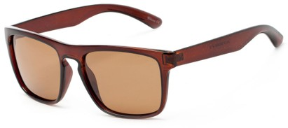 Angle of Granger #3953 in Glossy Brown Frame with Amber Lenses, Women's and Men's Retro Square Sunglasses