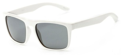 Angle of Granger #3953 in Matte White Frame with Smoke Lenses, Women's and Men's Retro Square Sunglasses