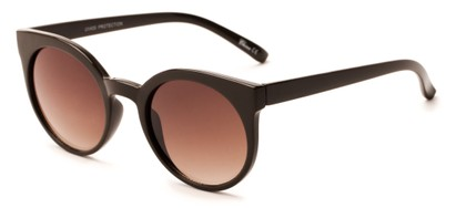 Angle of Parrot #3957 in Brown Frame with Amber Lenses, Women's Round Sunglasses