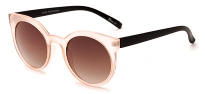 Angle of Parrot #3957 in Frosted Peach/Black Frame with Amber Lenses, Women's Round Sunglasses