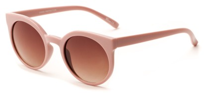 Angle of Parrot #3957 in Blush Pink Frame with Amber Lenses, Women's Round Sunglasses