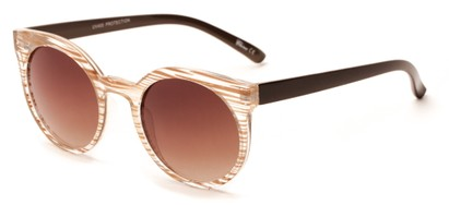 Angle of Parrot #3957 in Clear/Brown Stripe Frame with Amber Lenses, Women's Round Sunglasses