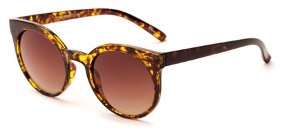Angle of Parrot #3957 in Tortoise Frame with Amber Lenses, Women's Round Sunglasses