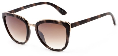 Angle of Darling #3966 in Black/Brown Stripe Frame with Amber Lenses, Women's Cat Eye Sunglasses