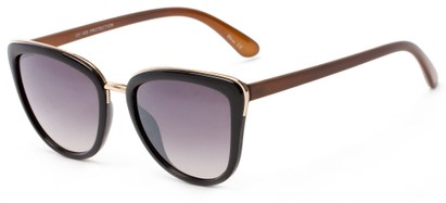 Angle of Darling #3966 in Black/Brown Frame with Grey Lenses, Women's Cat Eye Sunglasses