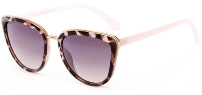 Angle of Darling #3966 in Black/Pink Tortoise Frame with Grey Lenses, Women's Cat Eye Sunglasses