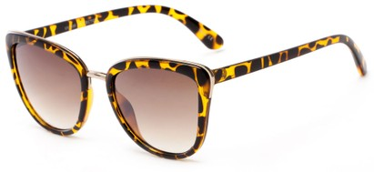 Angle of Darling #3966 in Tortoise Frame with Amber Lenses, Women's Cat Eye Sunglasses
