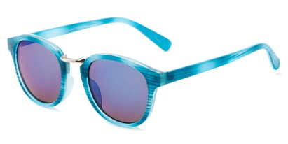 Angle of Newport #3967 in Blue Stripe Frame with Blue Mirrored Lenses, Women's Round Sunglasses