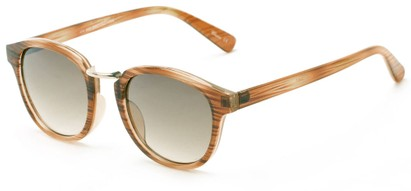 Angle of Newport #3967 in Brown Stripe Frame with Amber Lenses, Women's Round Sunglasses