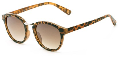 Angle of Newport #3967 in Tortoise Frame with Amber Lenses, Women's Round Sunglasses