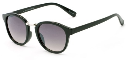 Angle of Newport #3967 in Glossy Black Frame with Grey Lenses, Women's Round Sunglasses