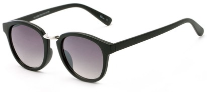 Angle of Newport #3967 in Matte Black Frame with Grey Lenses, Women's Round Sunglasses