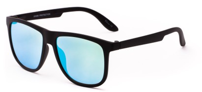 Angle of Malibu #3975 in Black Frame with Blue Mirrored Lenses, Men's Retro Square Sunglasses