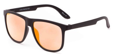 Angle of Malibu #3975 in Black Frame with Orange Mirrored Lenses, Men's Retro Square Sunglasses