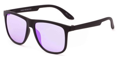 Angle of Malibu #3975 in Black Frame with Purple Mirrored Lenses, Men's Retro Square Sunglasses