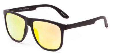 Angle of Malibu #3975 in Black Frame with Yellow Mirrored Lenses, Men's Retro Square Sunglasses