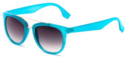 Angle of Mezen #3978 in Aqua Frame with Grey Lenses, Women's Retro Square Sunglasses