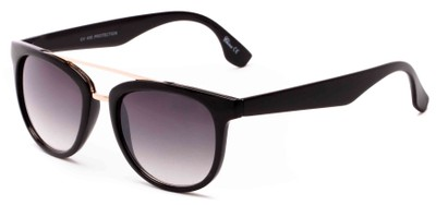 Angle of Mezen #3978 in Black Frame with Grey Lenses, Women's Retro Square Sunglasses