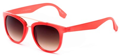 Angle of Mezen #3978 in Coral Frame with Amber Lenses, Women's Retro Square Sunglasses