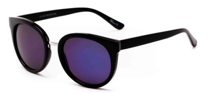 Angle of Magnolia #3981 in Black Frame with Blue Mirrored Lenses, Women's Round Sunglasses