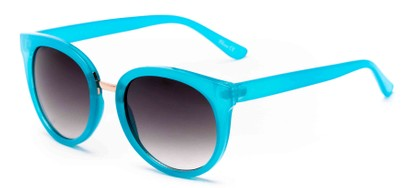 Angle of Magnolia #3981 in Blue Frame with Grey Lenses, Women's Round Sunglasses