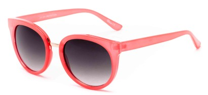 Angle of Magnolia #3981 in Coral Frame with Grey Lenses, Women's Round Sunglasses