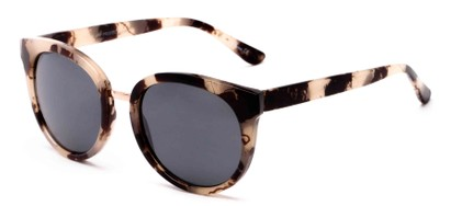 Angle of Magnolia #3981 in Black/Tan Marble Frame with Grey Lenses, Women's Round Sunglasses