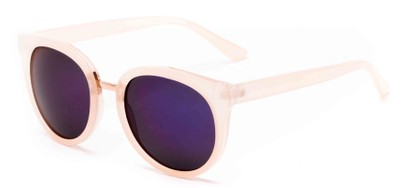 Angle of Magnolia #3981 in Peach Frame with Blue Mirrored Lenses, Women's Round Sunglasses