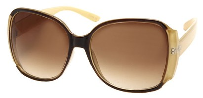 Angle of SW Oversized Round Style #3996 in Brown and Ivory Frame, Women's and Men's